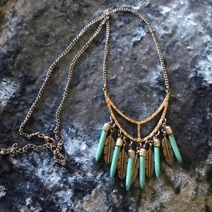 Jewelry - Turquoise & Feather Necklace
